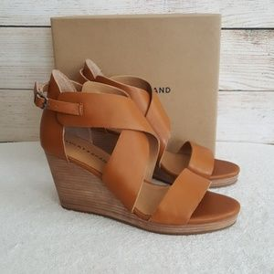 New Lucky Brand Landrita Leather Wedge Sandals